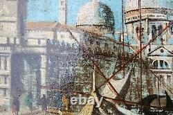 Artiste Italien D. Colli Peinture À L'huile Antique Sur Toile, Italie, Venise, Grand Canal