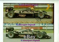 Ayrton Senna Jps Lotus 97t British Grand Prix 1985 Véritable Signé Photo