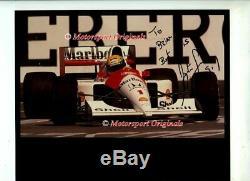 Ayrton Senna Mclaren Mp4 / 6 Vainqueur USA Grand Prix 1991 Véritable Signé Photo