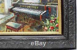 Baby Grand Piano Music Room Original Oil Painting Wall Art Oeuvre Encadrée Beaux-arts