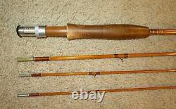 Bamboo Fly Rod Vintage Signé Gene Edwards De Luxe 3-piece 2 Tips Withcase Rare
