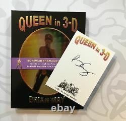 Brian May Signé Reine En 3-d Rhapsody Deluxe Edition Livre Autographié