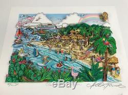 Charles Fazzino 3d Création Nos Caraïbes Vacances & Numéroté Deluxe Signé Ed