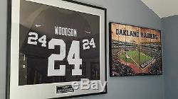 Charles Woodson Oakland Raiders Deluxe Encadré Signé Noir Nike Throwback Jersey
