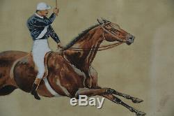 Cheval Aquarelle Originale De Course De Grand Military'5th Fusiliers' Peinture 1891