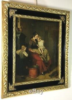 Danset C19th Huile Toile Mère Enfant Portrait Signée Cadre Du Grand Gilt