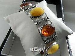 Deluxe Argent Sterling 925 Jaune D'oeuf Bracelet De Pierres Précieuses Ambre Miel Signe Ps