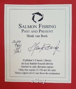 Deluxe Salmon Leatherbound Flies Past & Present Henk Van Bork Mouche Livre De Pêche