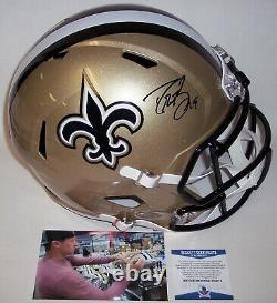 Drew Brees Signé Riddell Saints Speed Full Size Deluxe Replica Casque Bas