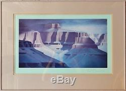 Ed Mell Crayon-signé Grand Canyon Marges D'impression = 20 X 11