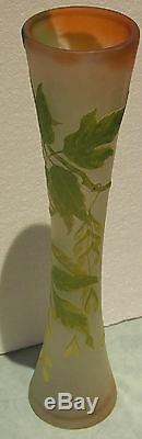 Emile Galle C 1910 Grand Vase En Verre De Camée Design Haut 22.5