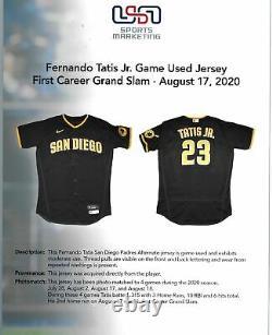 Fernando Tatis Jr. Signé 1ère Carrière Grand Slam Jersey Jersey Usey USA Sm Loa