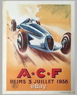 Grand Prix De France À Reims, 1938 Affiche Officielle De L'événement Multicolore Par Geo Ham