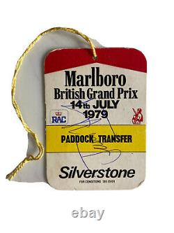 James Hunt Signé Grand Prix Formula One Pass Aftal
