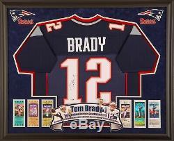 Jersey Encadré Tom Brady Chandail Signé Hologramme Steiner Patriots Deluxe NFL Auto