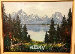 Keith Fay Le Grand Tetons Peinture À L'huile Sur Toile Listed Wyoming Nebraska Artiste