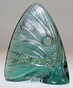 Lalique France Crystal Art Glass Grand Nacre Butterfly Pale Turquoise Enamel #1