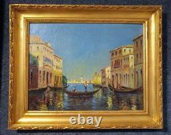 Le Grand Canal De Venise, Huile Sur Toile Vers 1920 Signé A. J. Chatelain, Encadré