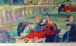 Leroy Neiman Grand Prix De Monaco Encadrée Sérigraphie Épreuve D'artiste 36 X 24