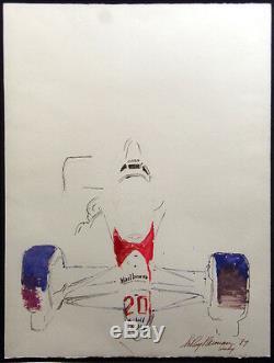 Leroy Neiman Grand Prix Indy Racing Panier Signé Aquarelle Originale