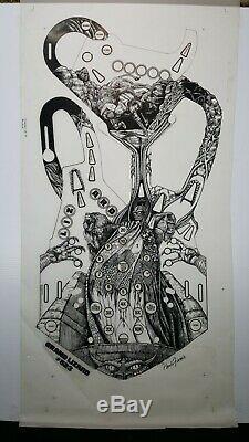 Main Originale Dessinée Playfield Art Pour Williams Grand Lizard Pinball- Signé