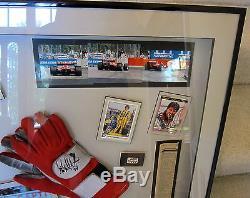 Michael Andretti Autographié Framed Race Porté Gants 1996 Grand Prix De Detroit