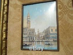 Miniature Antique Grand Canal Piazza Venise Italie Peinture Ida Calzolari