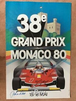 Monaco Original Officiel F1 Grand Prix Poster 1980 Signé Par 3 Pilotes