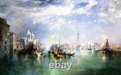 Nice Art Peinture À L'huile Entrée Thomas Moran Du Grand Canal, Venise Toile