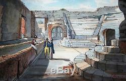 Odeon A Pompei, Italie Original Début Du 19ème Siècle Grand Tour Aquarelle Signe
