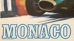 Original Vintage Poster Monaco Grand Prix'68 Auto Racing Rare First Printing Ol