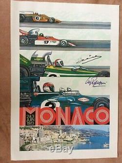 Originale Monaco F1 Grand Prix 1980 Poster Officiel Signé Par Jarier Et Regazzon