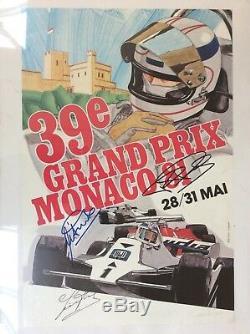 Originale Monaco F1 Grand Prix 1981 Poster Officiel Signé Par Trois Pilotes