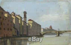 Peinture À L'huile Antique, Florence, Toscane, Italie, Signé Da Pistoia, Grand Tour