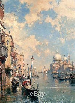 Peinture À L'huile Superbe Franz Richard Unterb Le Grand Canal De Venise Et L'église En Canoë