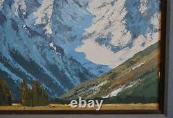 Peinture D'huile De Paysage De Montagne Grand Teton Dans Le Wyoming De Neige Roy Kerswill