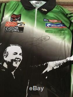 Phil La Puissance Taylor Signée À La Main Shirt Darts Grand Prix 2013 Comes With Coa