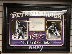 Pistol Pete Maravich, Dédicacée (jsa) Cadre Deluxe (scarce)