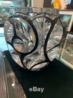 Rare Ltd. Edition Grand Lalique Tourbillons Du Grand Vase En Émail Noir Cristal