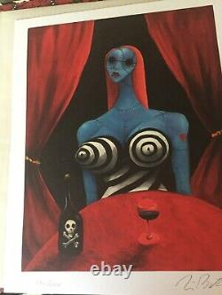 Rare Signed The Art Of Tim Burton Signed Deluxe Book + Lithographie Signée À La Main