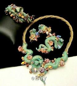 Rare Vintage Signé Har Cobra Serpent De Grand Collier Bracelet Parure Pin Boucles D'oreilles