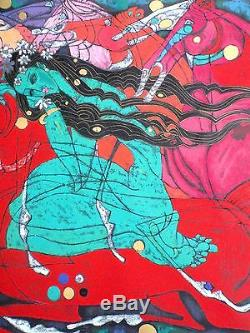 Sérigraphie Embellie De L'artiste Jiang Tiefeng Emerald Lady Delux Edition -1985