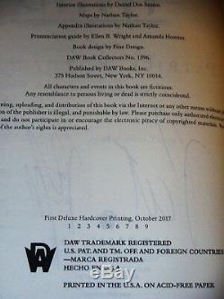 Signé 1er Imprimer Le Nom Du Vent Anniversaire DLX Livre Patrick Rothfuss Coa