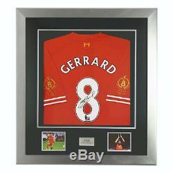 Signé Steven Gerrard Témoignage Ltd Édition 2014 Liverpool Fc Shirt Deluxe