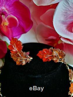 Signé Vintage Lisner Orange-orange-brown Thermoset Oak Set Maple Grande Parure