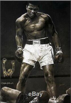 Stephen Hollande Deluxe Giclée Sur Toile Avec Dessin Original Muhammad Ali Signés