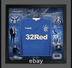 Steven Gerrard Signé Deluxe Framed Rangers Shirt Private Signing Coa £200