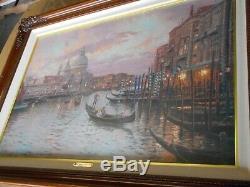 Thomas Kinkade Illuminated Encadrée Toile De Venise Imprimer Coucher De Soleil Sur Le Grand C