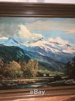 Vintage Art Robert Wood Reproduction Encadrée De Grand Teton Imprimer 53 X 29 Signe