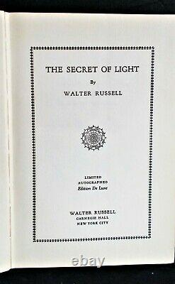Walter Russell The Secret Of Light Signé Limited Deluxe 1st Ed.